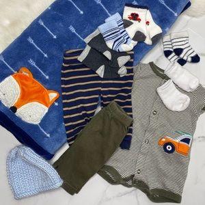🎉Bundle baby boy blanket bottoms hat socks A2-16